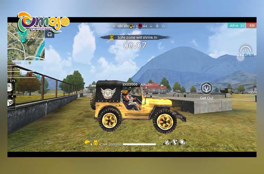 سریع ترین وسیله های نقلیه بازی فری فایر:جیپ (Jeep)